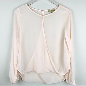 Altar'd state Silk Sheer cream wrap blouse